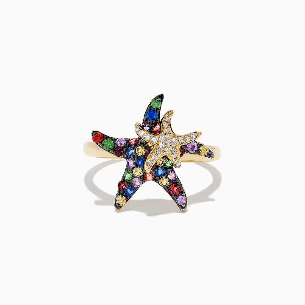 Effy Watercolors 14K Yellow Gold Sapphire & Diamond Starfish Ring, 0.84 TCW