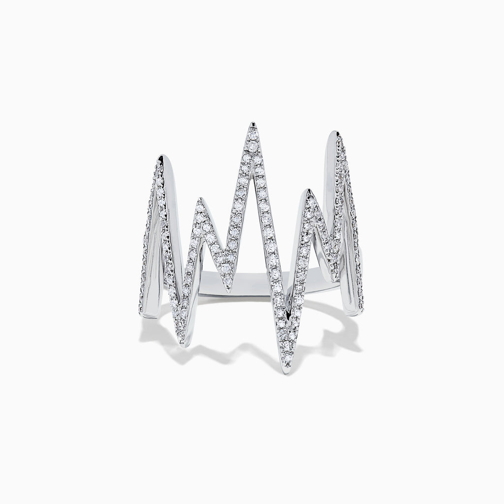 Effy Novelty 14K White Gold Diamond Zig Zag Ring, 0.38 TCW