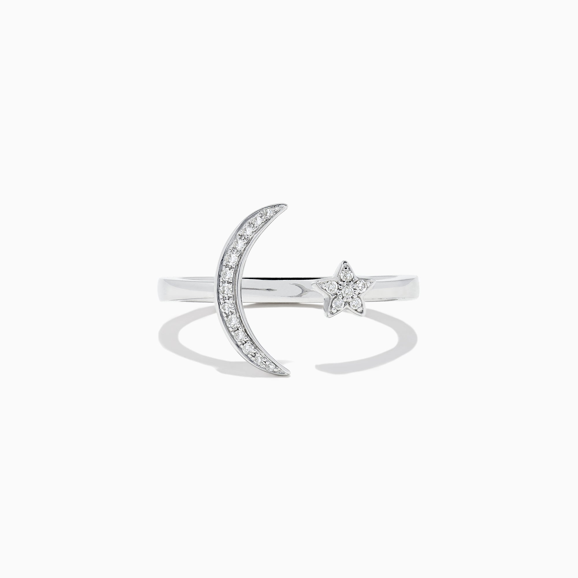 Effy Novelty 14K White Gold Moon and Star Diamond Ring, 0.08 TCW