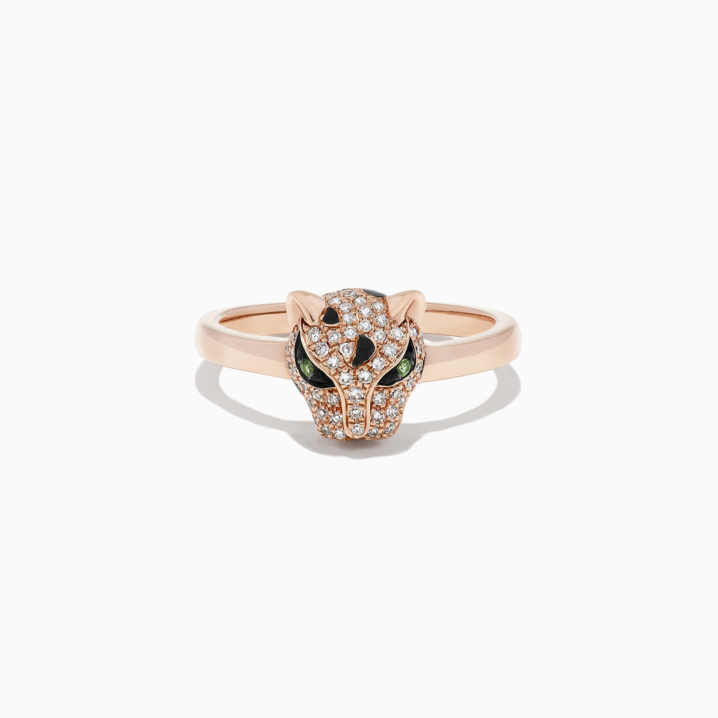 Effy Signature 14K Rose Gold Diamond and Tsavorite Mini Ring, 0.25 TCW