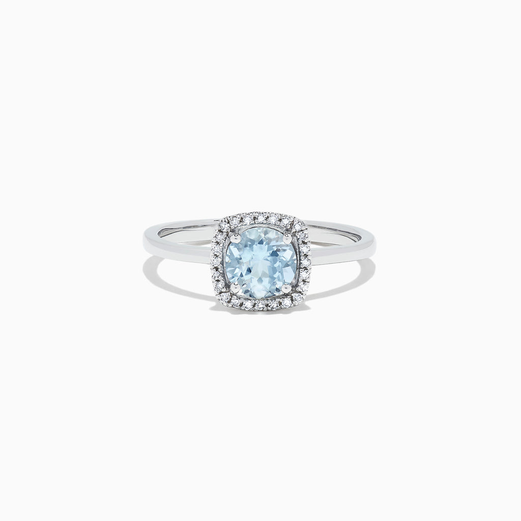 Effy Aquarius 14K White Gold Aquamarine and Diamond Ring, 0.78 TCW