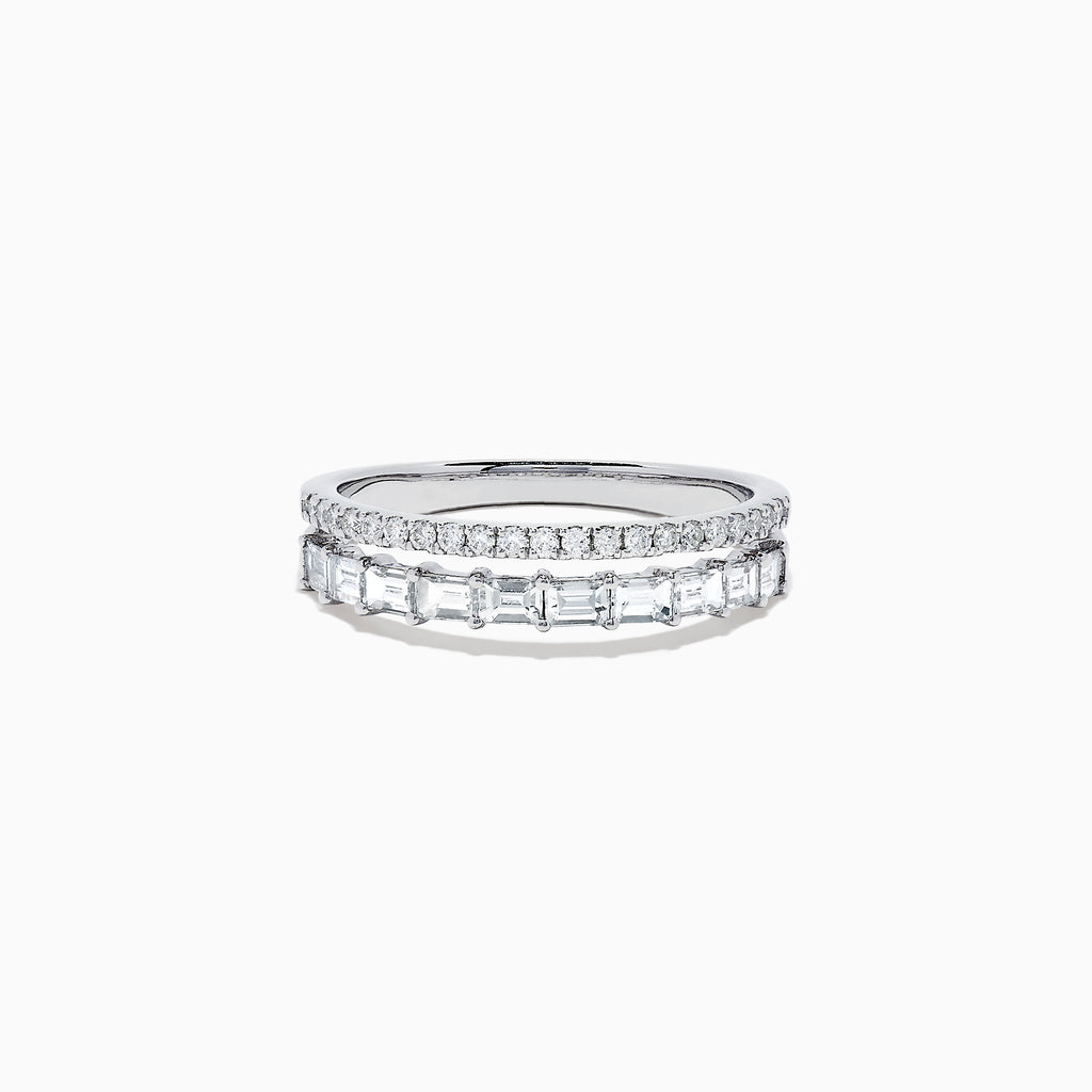 Effy Classique 14K White Gold Diamond Double Band Ring, 0.76 TCW