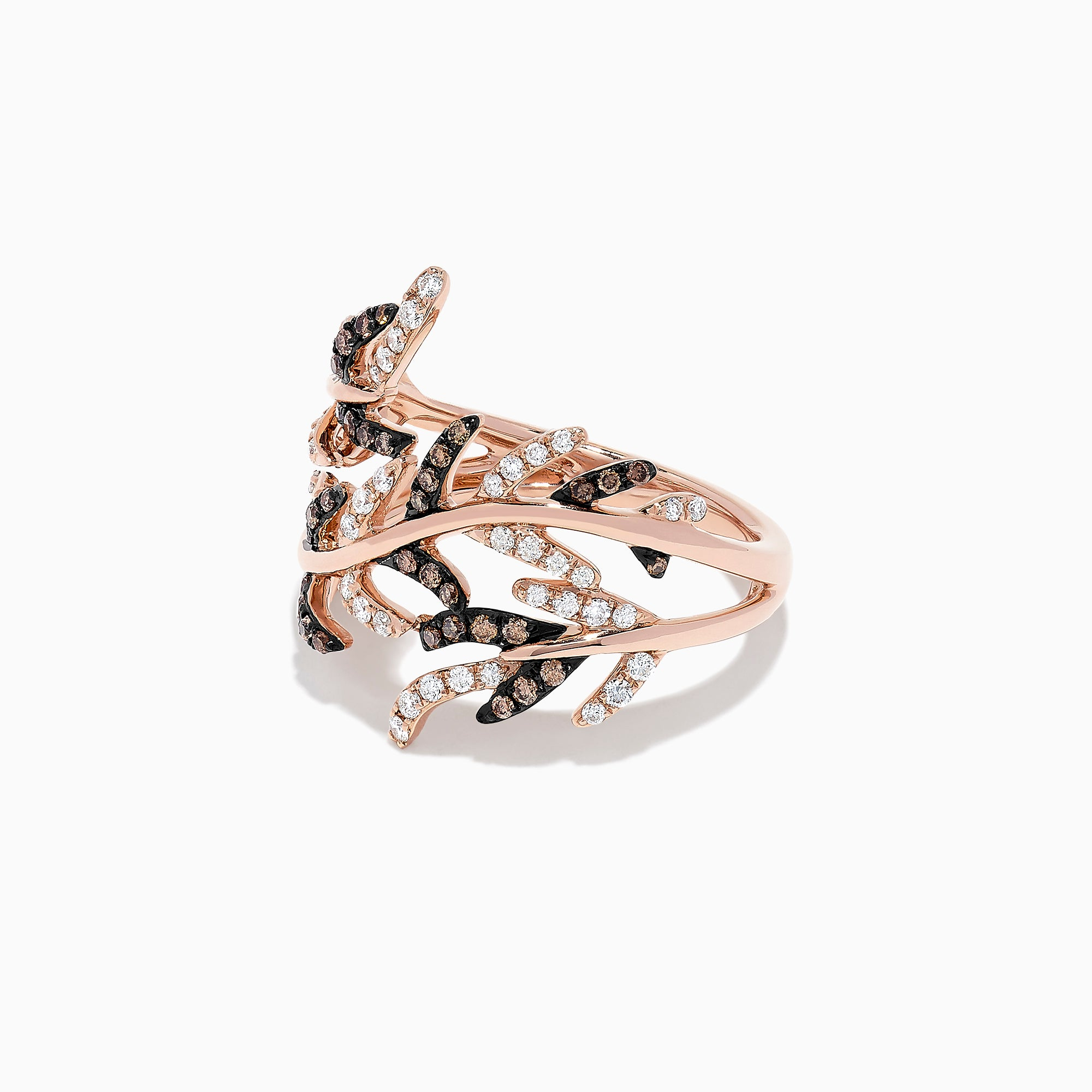 Effy Espresso 14K Rose Gold Cognac and White Diamond Ring, 0.62 TCW