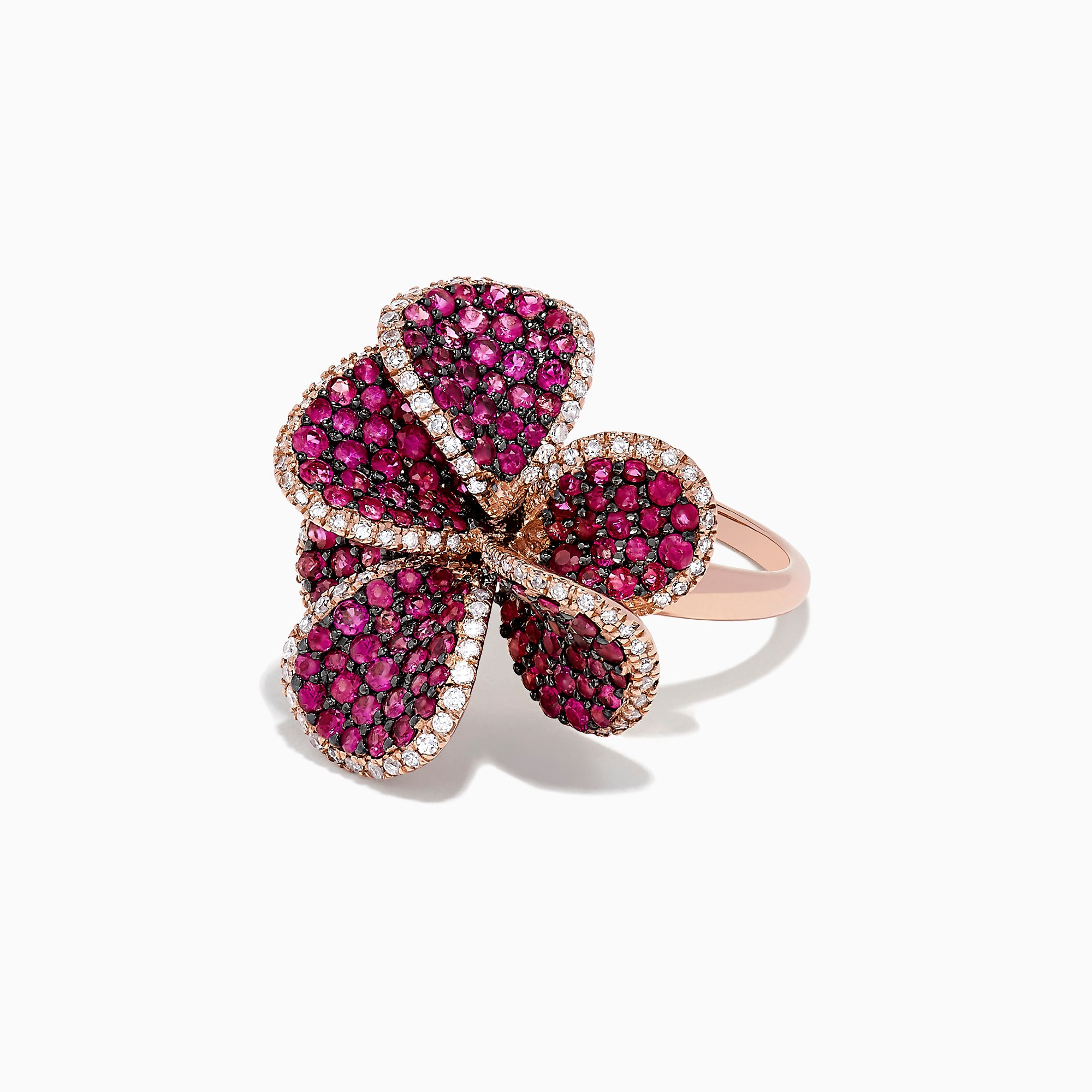 Effy Nature 14K Rose Gold Ruby and Diamond Flower Ring, 2.24 TCW