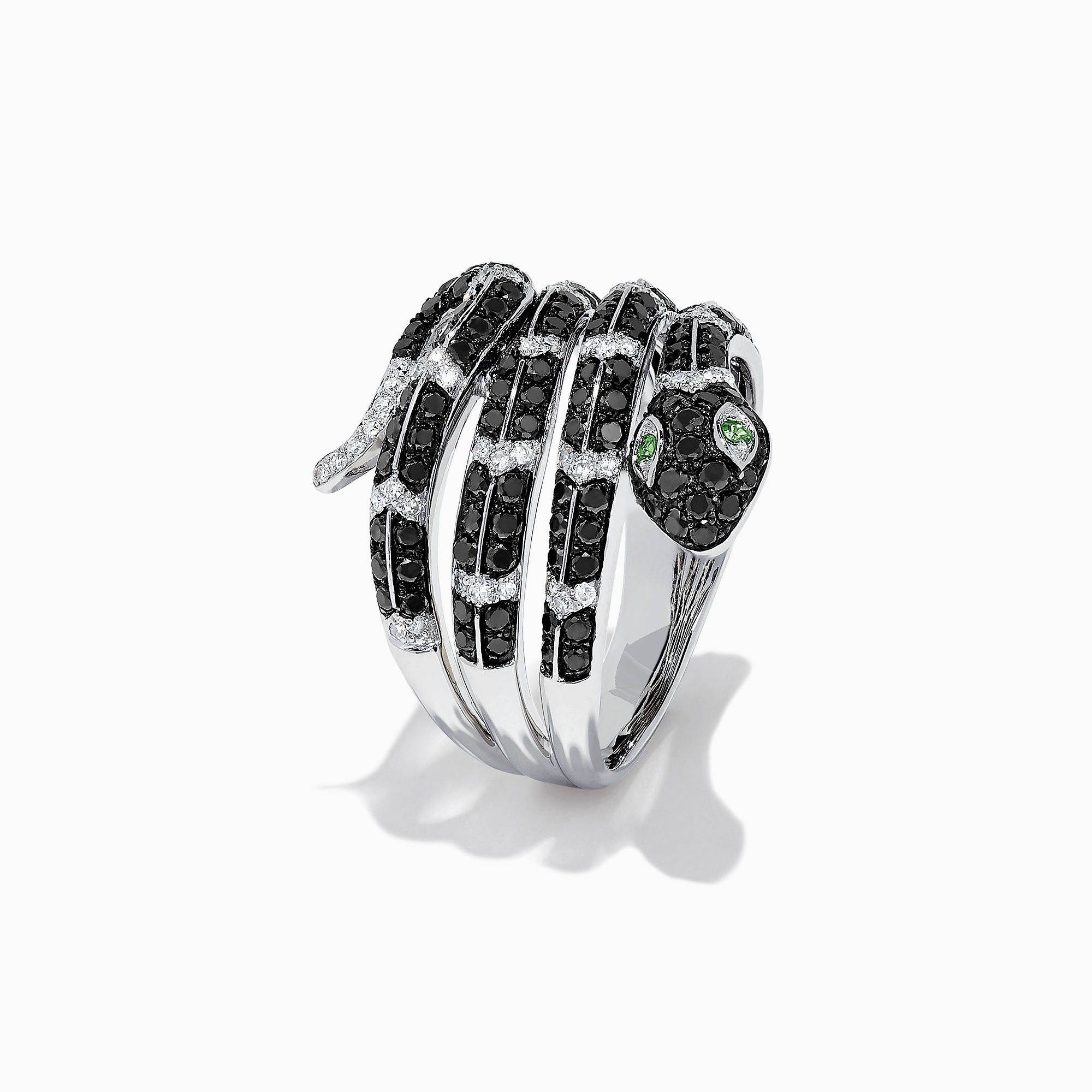 Effy Safari 14K White Gold Diamond & Emerald Snake Ring, 1.06 TCW