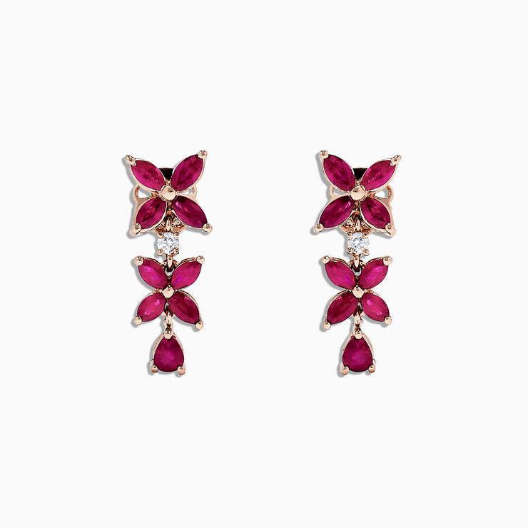 Effy Ruby Royale 14K Rose Gold Ruby and Diamond Earrings, 2.68 TCW