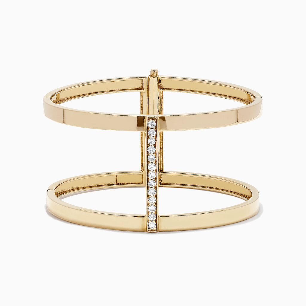 Effy 14K Yellow Gold Diamond Bangle, 0.64 TCW