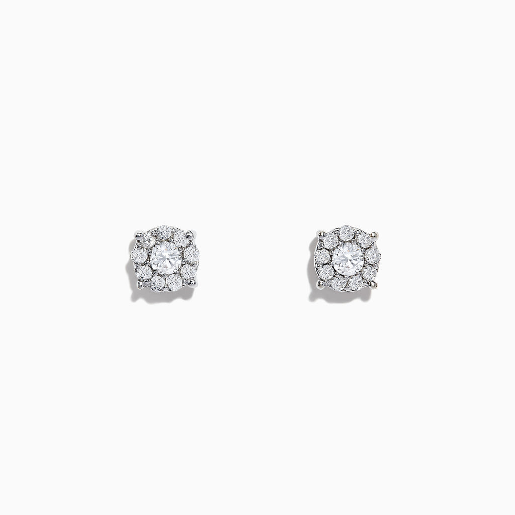 Effy Bouquet 14K White Gold Diamond Cluster Stud Earrings, 0.93 TCW