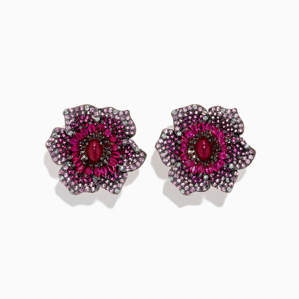 Effy 14K Rose Gold Ruby, Sapphire and Diamond Flower Earrings, 11.71 TCW