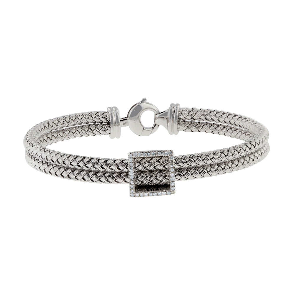 Effy 925 Braided Sterling Silver Diamond Bracelet