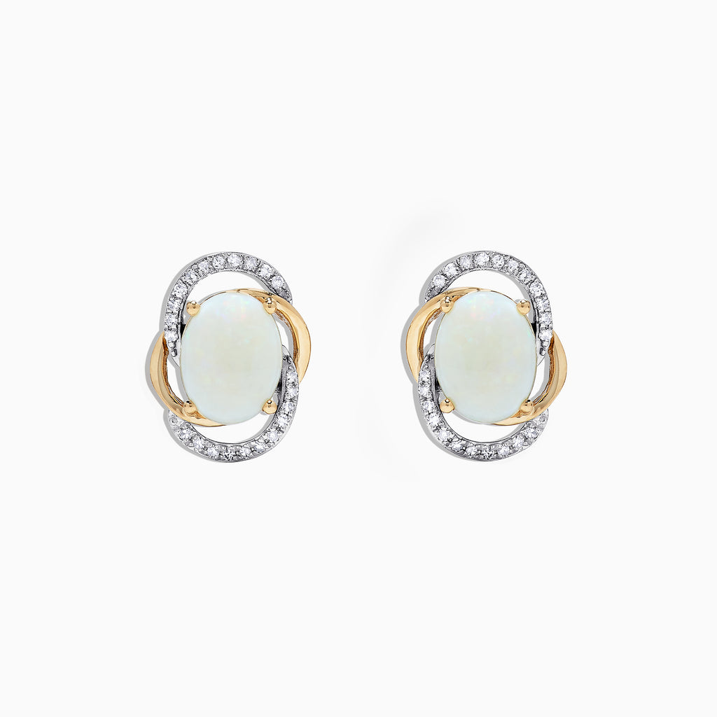 Effy Aurora 14K Two Tone Gold Opal and Diamond Stud Earrings, 2.06 TCW