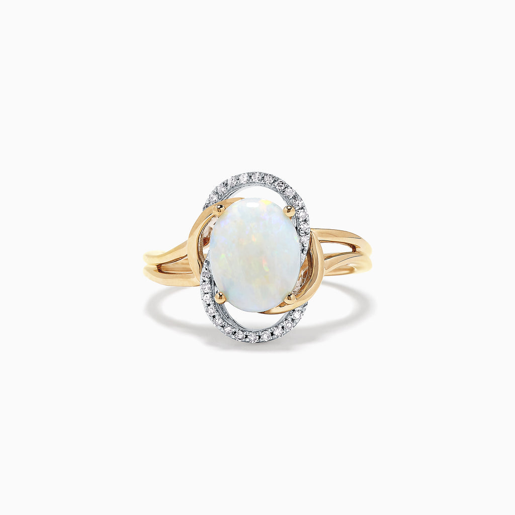 Effy Aurora 14K Two Tone Gold Opal and Diamond Ring, 1.49 TCW