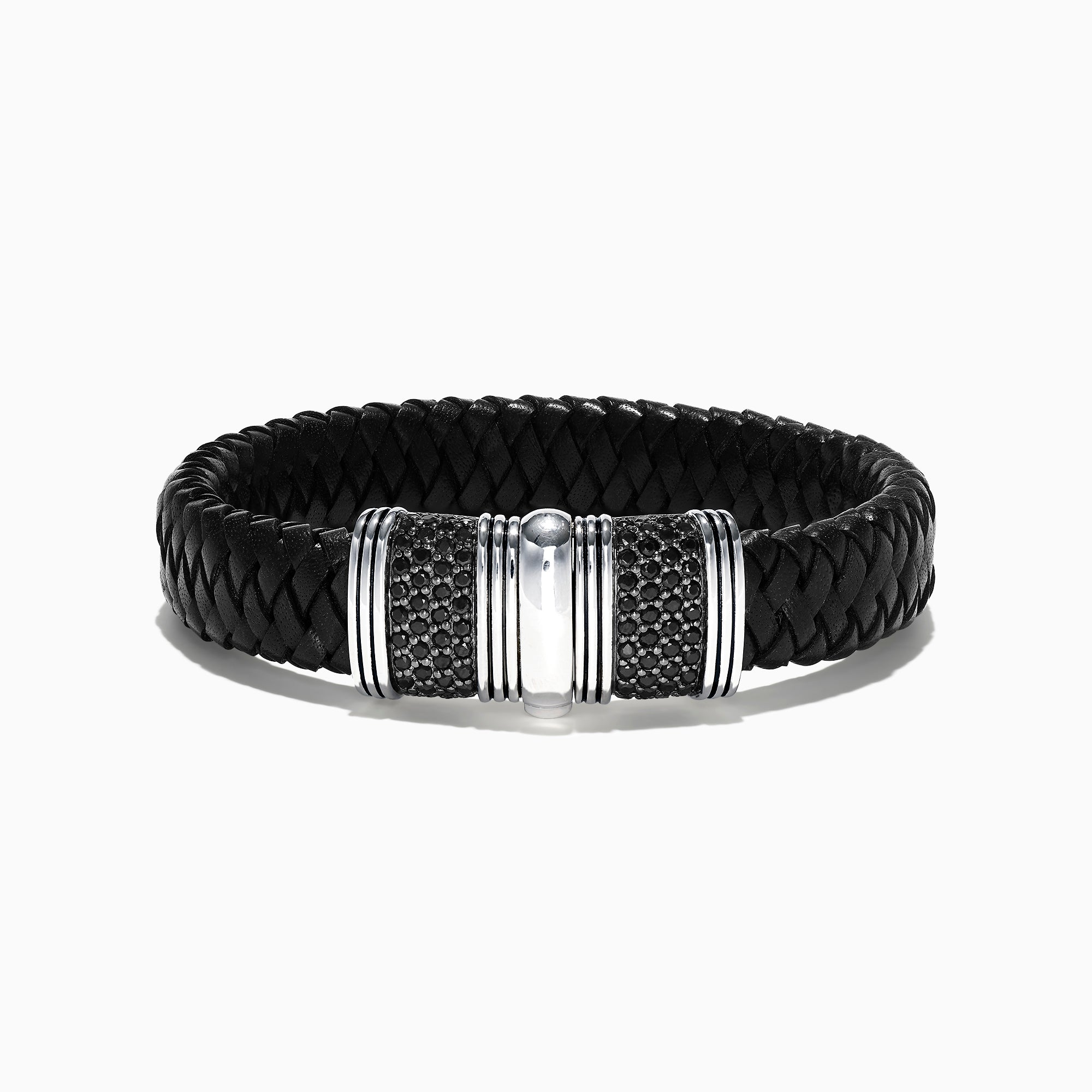 Effy Men's Sterling Silver and Leather Black Sapphire Bracelet, 2.70 TCW
