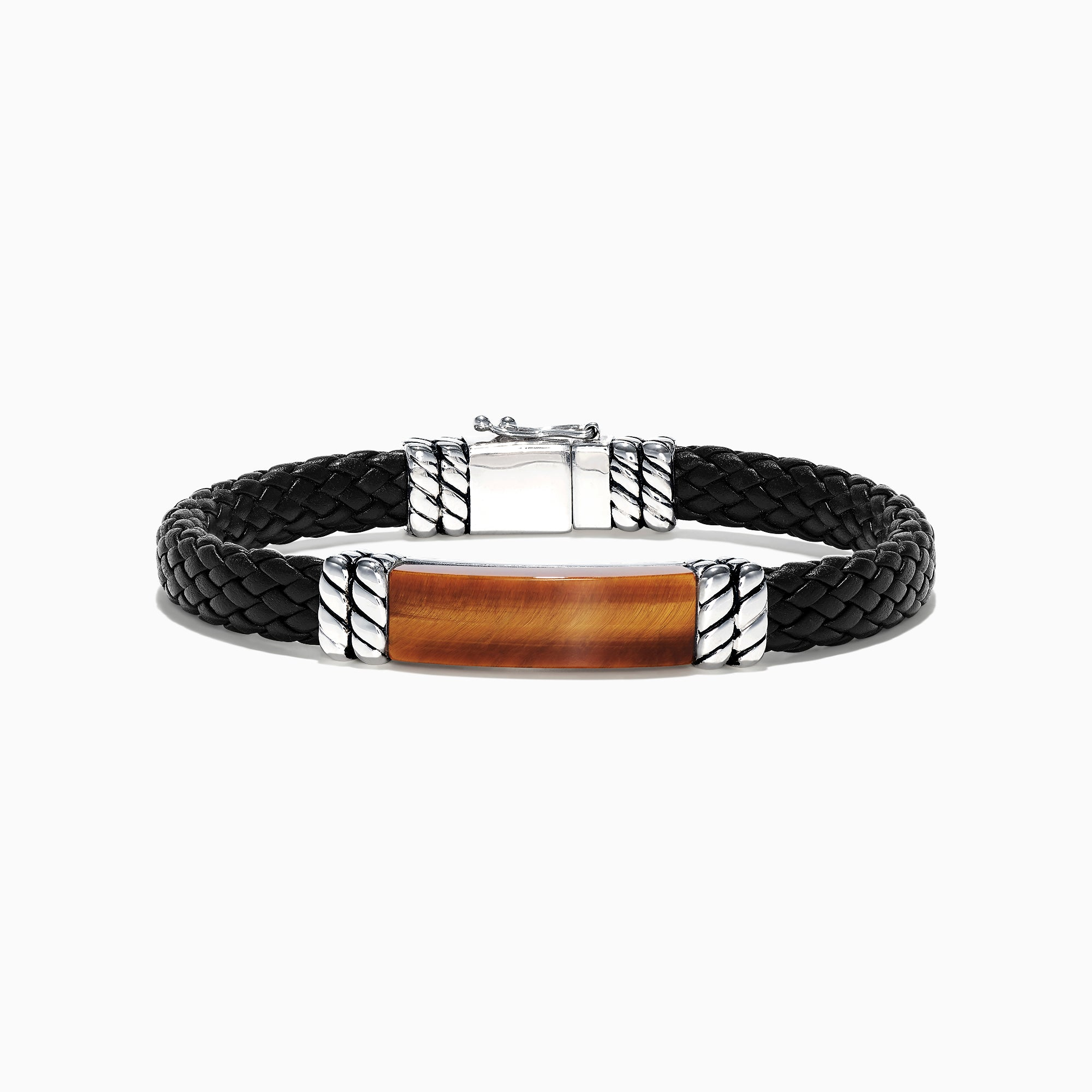 Effy Men's Sterling Silver Leather Tiger's Eye Bracelet, 12.00 TCW
