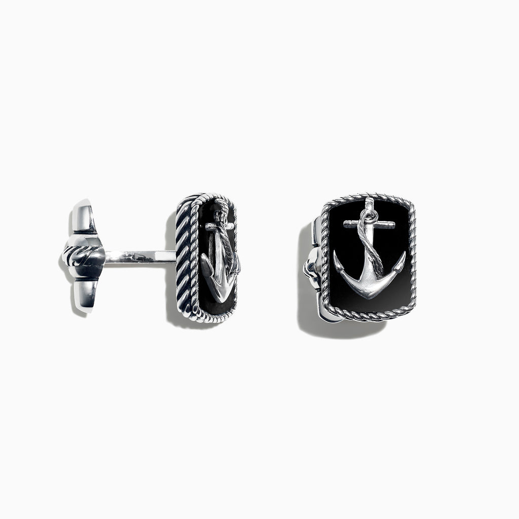Effy Men's Sterling Silver Onyx Anchor Cufflinks, 9.85 TCW