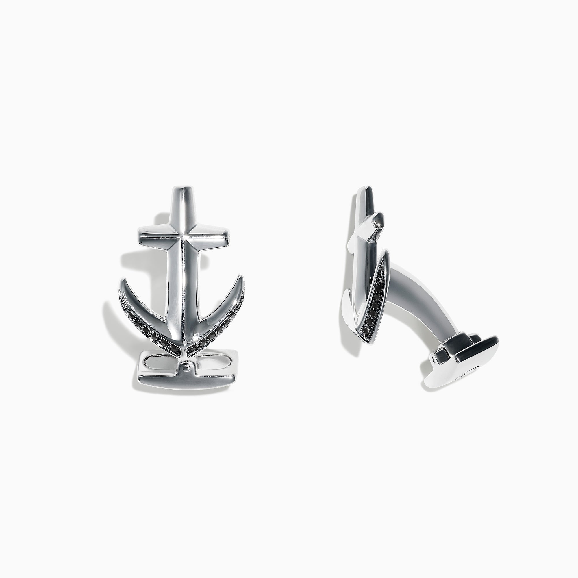 Effy Men's Sterling Silver and Black Sapphire Anchor Cufflinks, 0.27 TCW