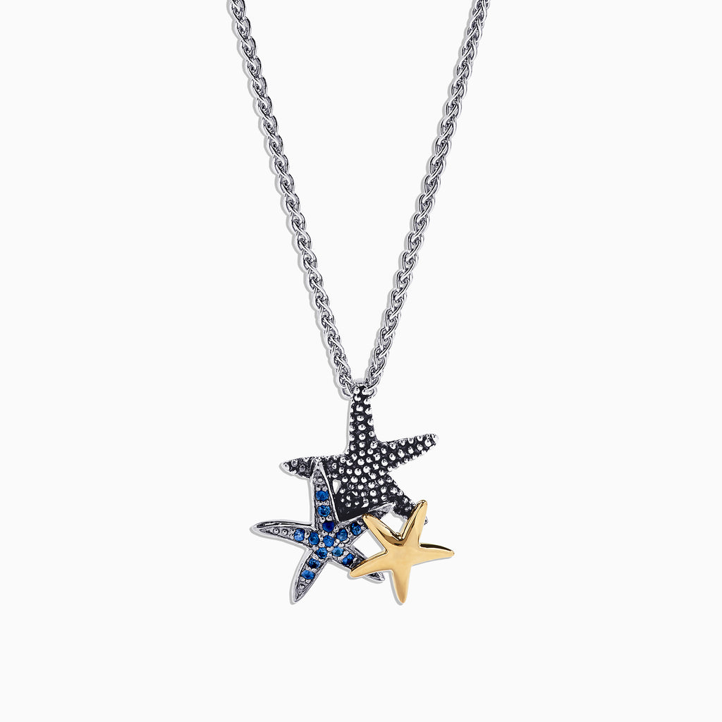 Effy Seaside Sterling Silver Sapphire Starfish Pendant, 0.15 TCW