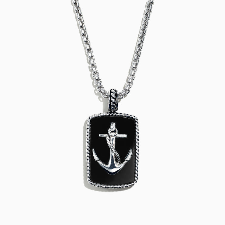 Effy Men's Sterling Silver Onyx Anchor Dog Tag Pendant, 18.85 TCW