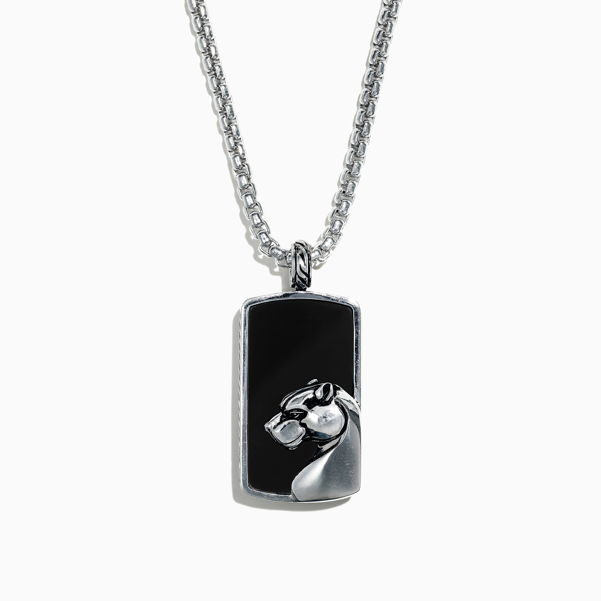 Effy Men's 925 Sterling Silver Onyx Dog Tag Pendant, 28.40 TCW
