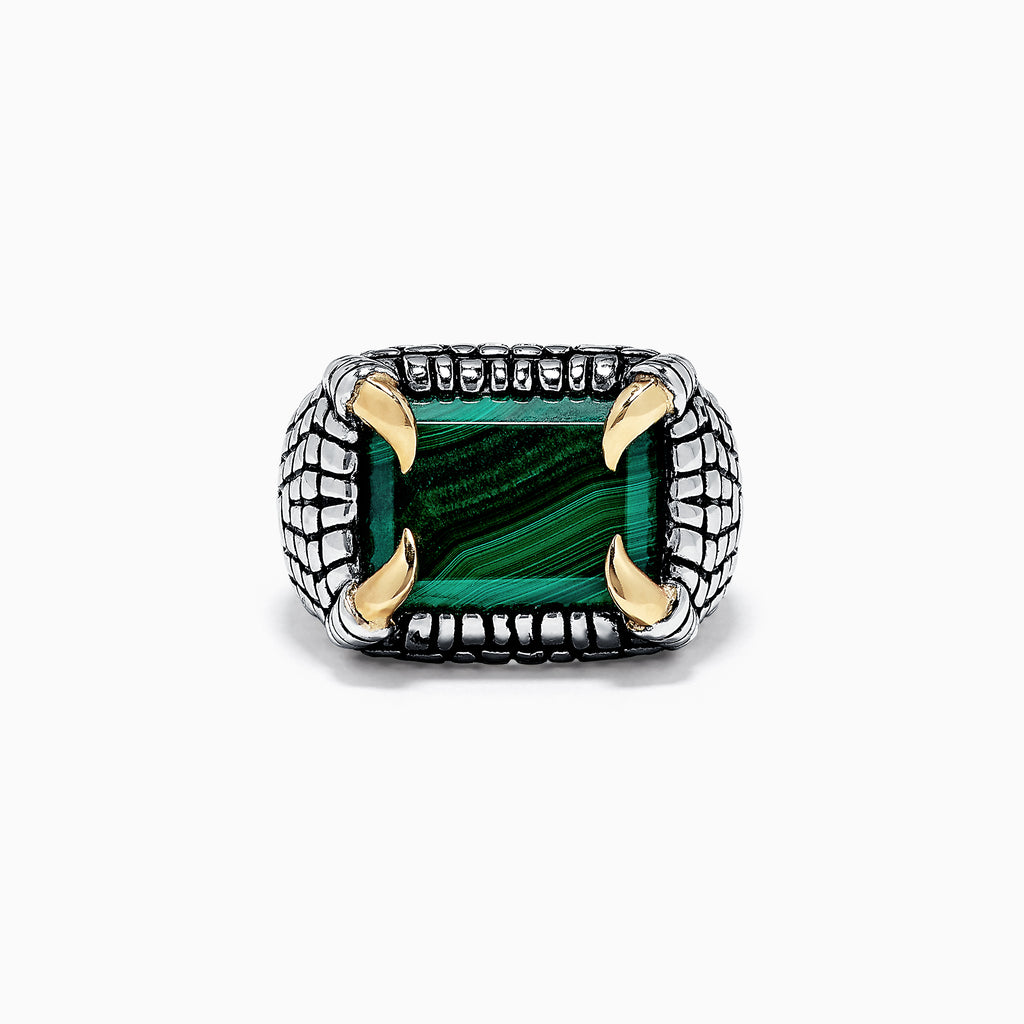 Effy Men's Sterling Silver & 14K Yellow Gold  Malachite Claw Ring, 15.00 TW