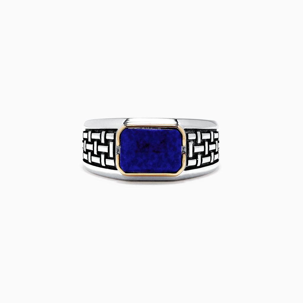 Effy Men's Sterling Silver and 14K Yellow Gold Lapis Lazuli Ring, 2.40 TCW