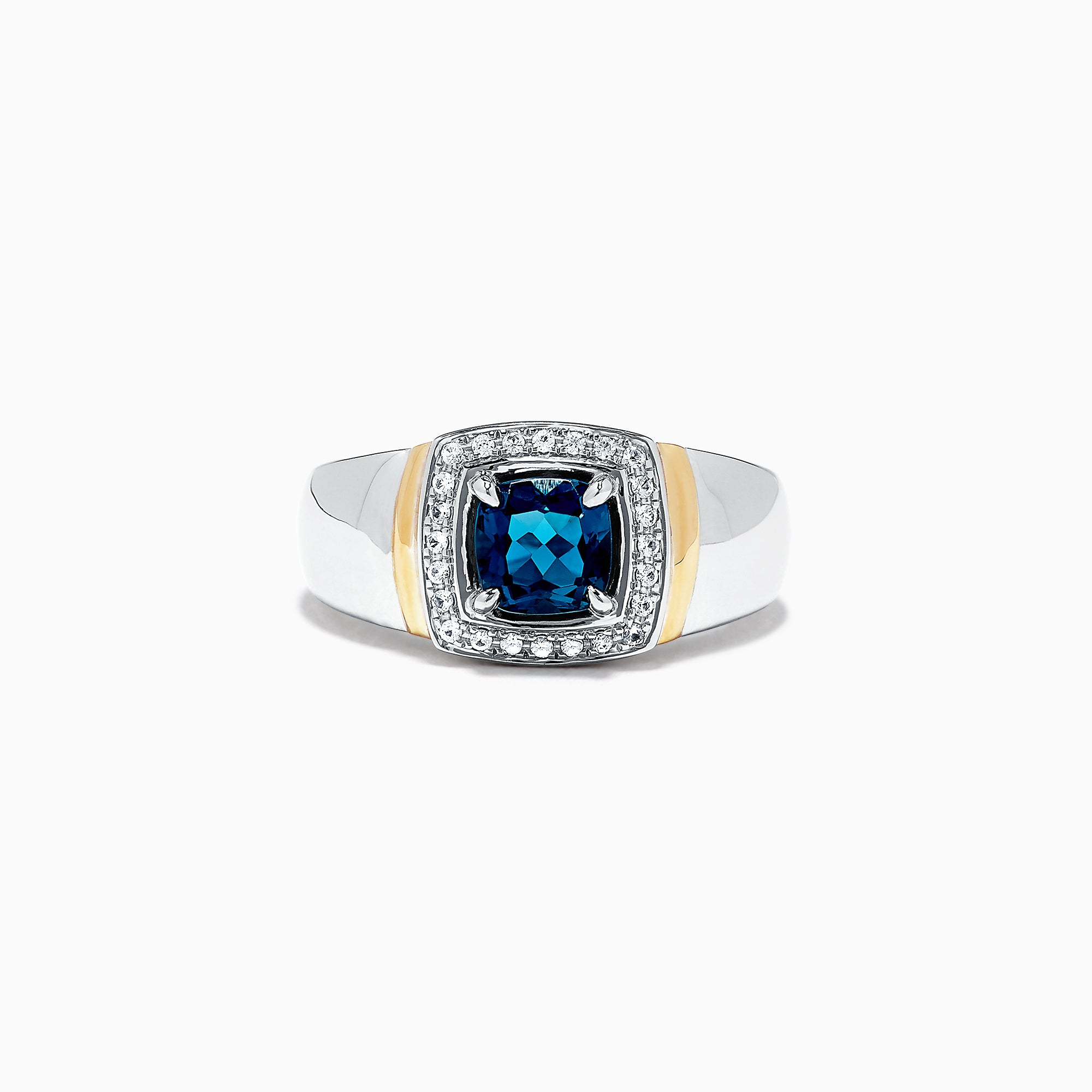 Effy Men's Sterling Silver Blue Topaz and White Sapphire Ring, 2.00 TCW