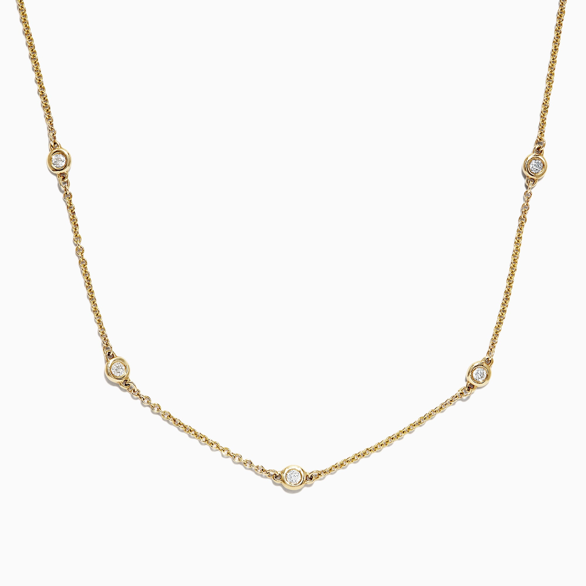 "Effy D'Oro 14K Yellow Gold 18"" Diamond Station Necklace, 0.21 TCW"