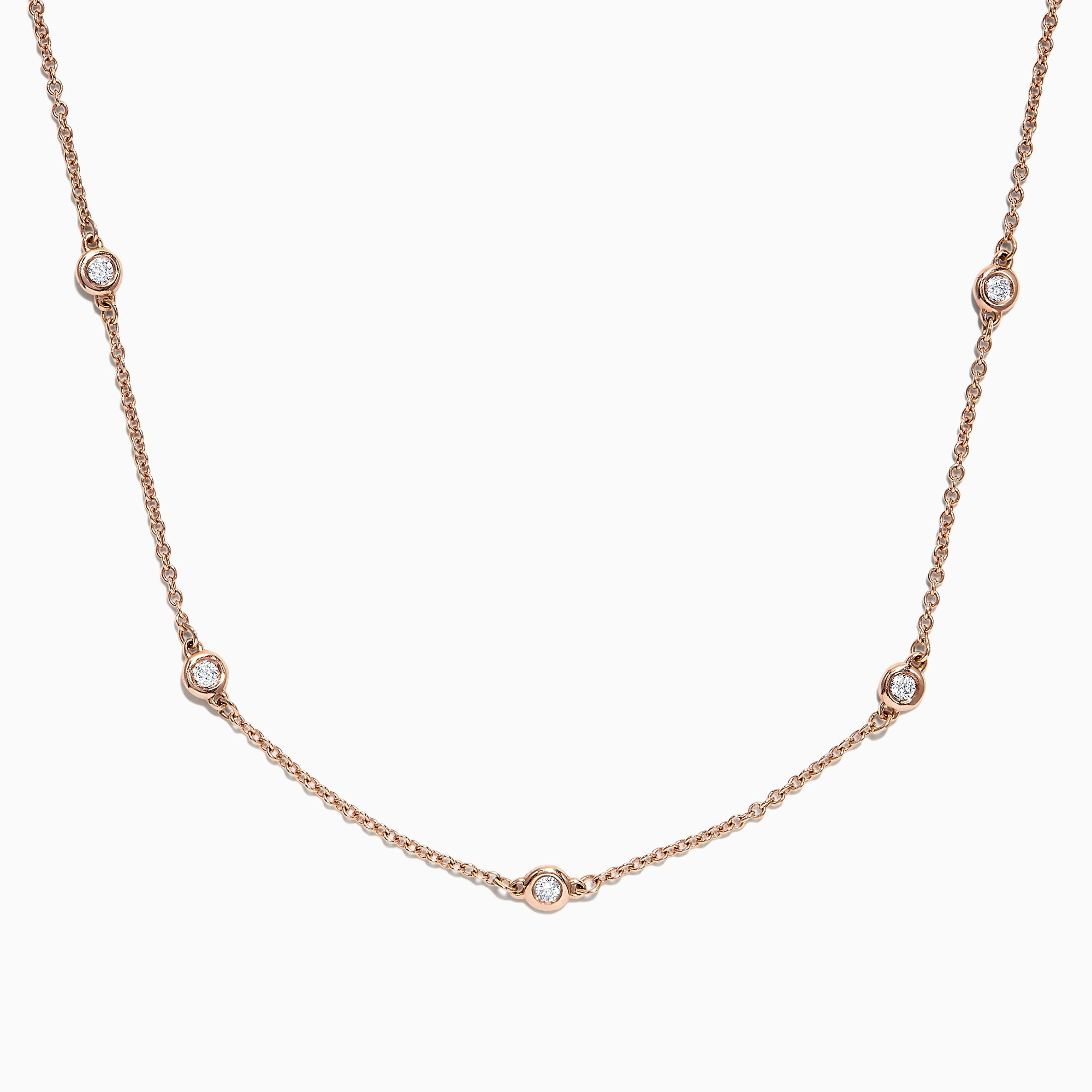 "Effy 14K Rose Gold 18"" Diamonds Station Necklace, 0.21 TCW"