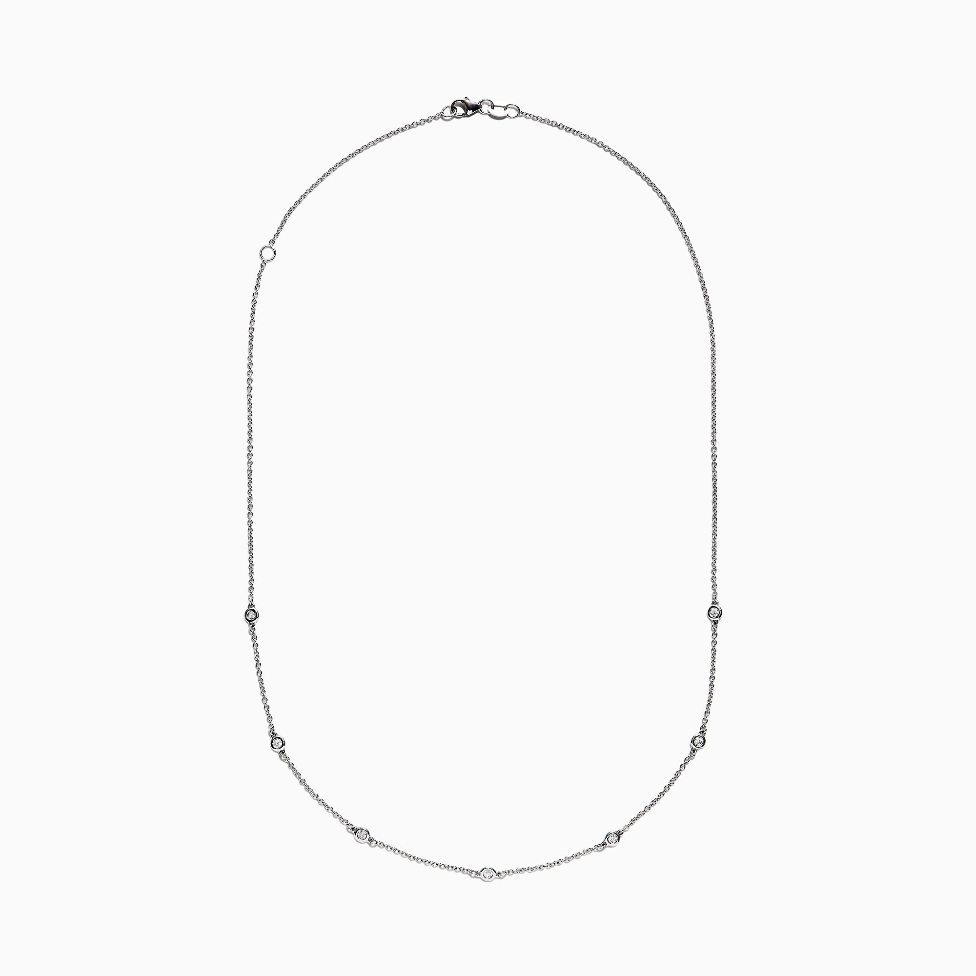 "14K White Gold 18"" Diamond Necklace, .69 TCW"