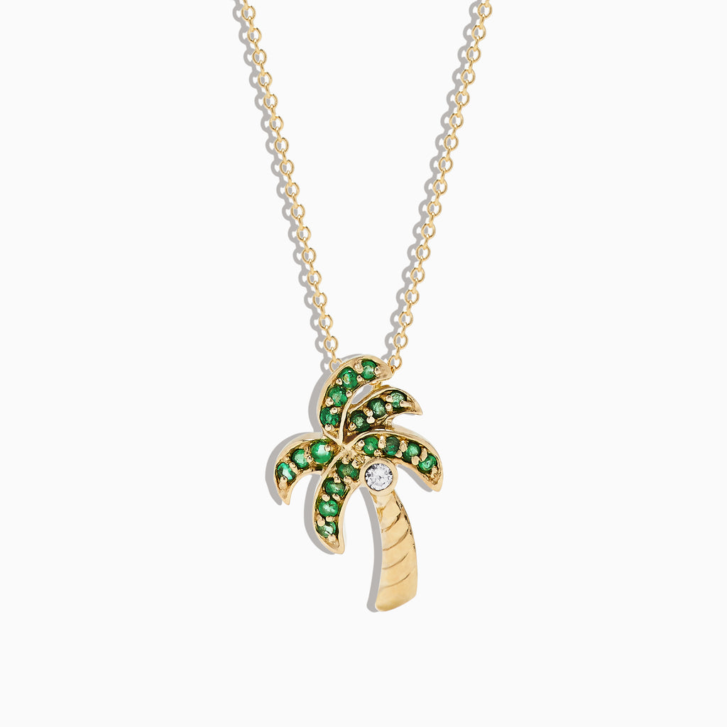 Effy 14K Yellow Gold Emerald and Diamond Palm Tree Pendant, 0.34 TCW