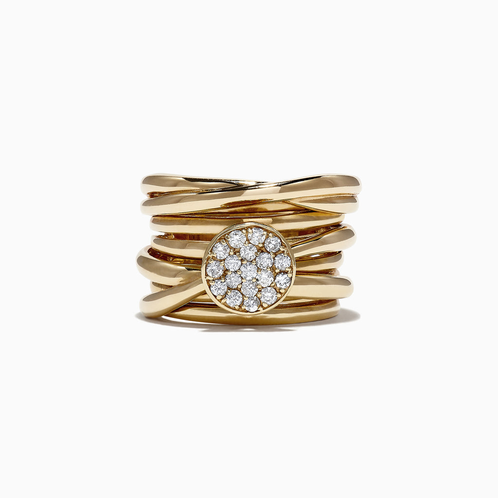 Effy D'Oro 14K Yellow Gold Diamond Ring, 0.35 TCW