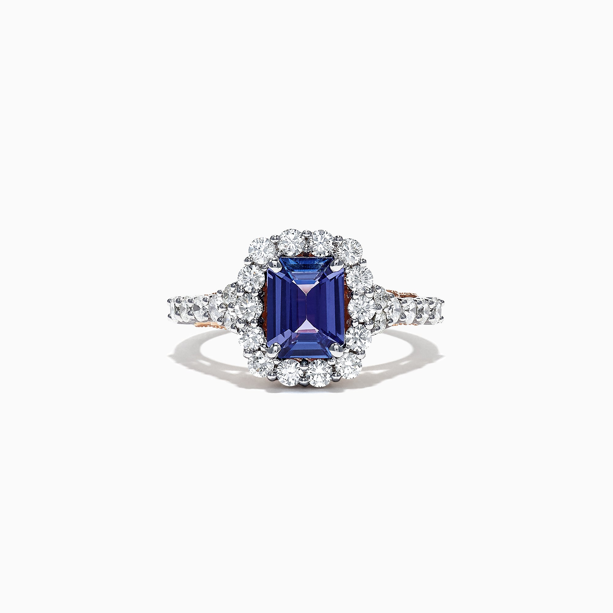 Effy 14K Two Tone Gold Emerald Cut Tanzanite and Diamond Ring, 2.32 TCW