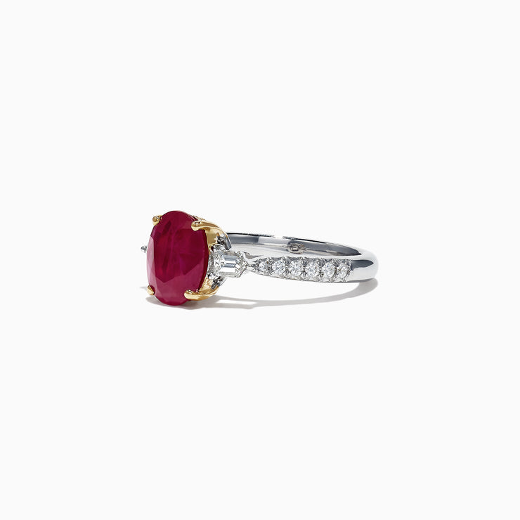 Effy Ruby Royale 14K White Gold Ruby and Diamond Ring, 2.49 TCW