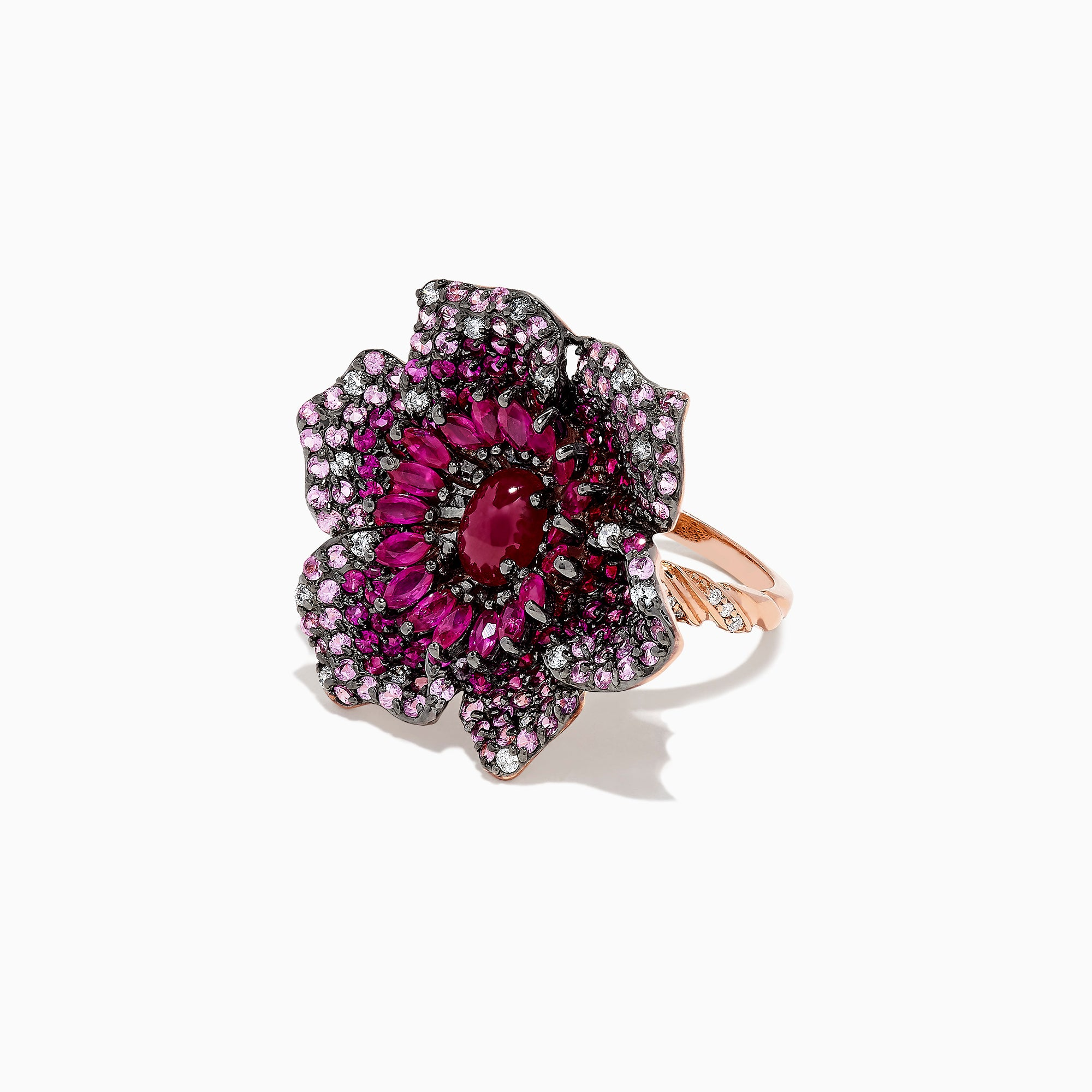 Effy 14K Rose Gold Ruby, Sapphire and Diamond Flower Ring, 5.92 TCW