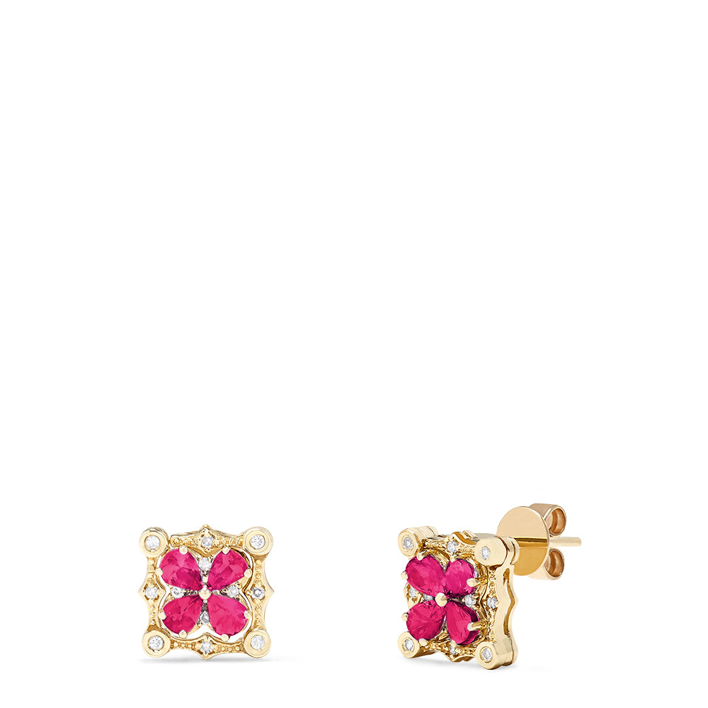 Effy Diversa 14K Yellow Gold Ruby and Diamond Earrings, 1.70 TCW