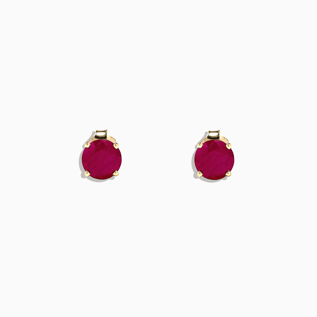 Effy Ruby Royale 14K Yellow Gold Ruby Stud Earrings, 2.00 TCW