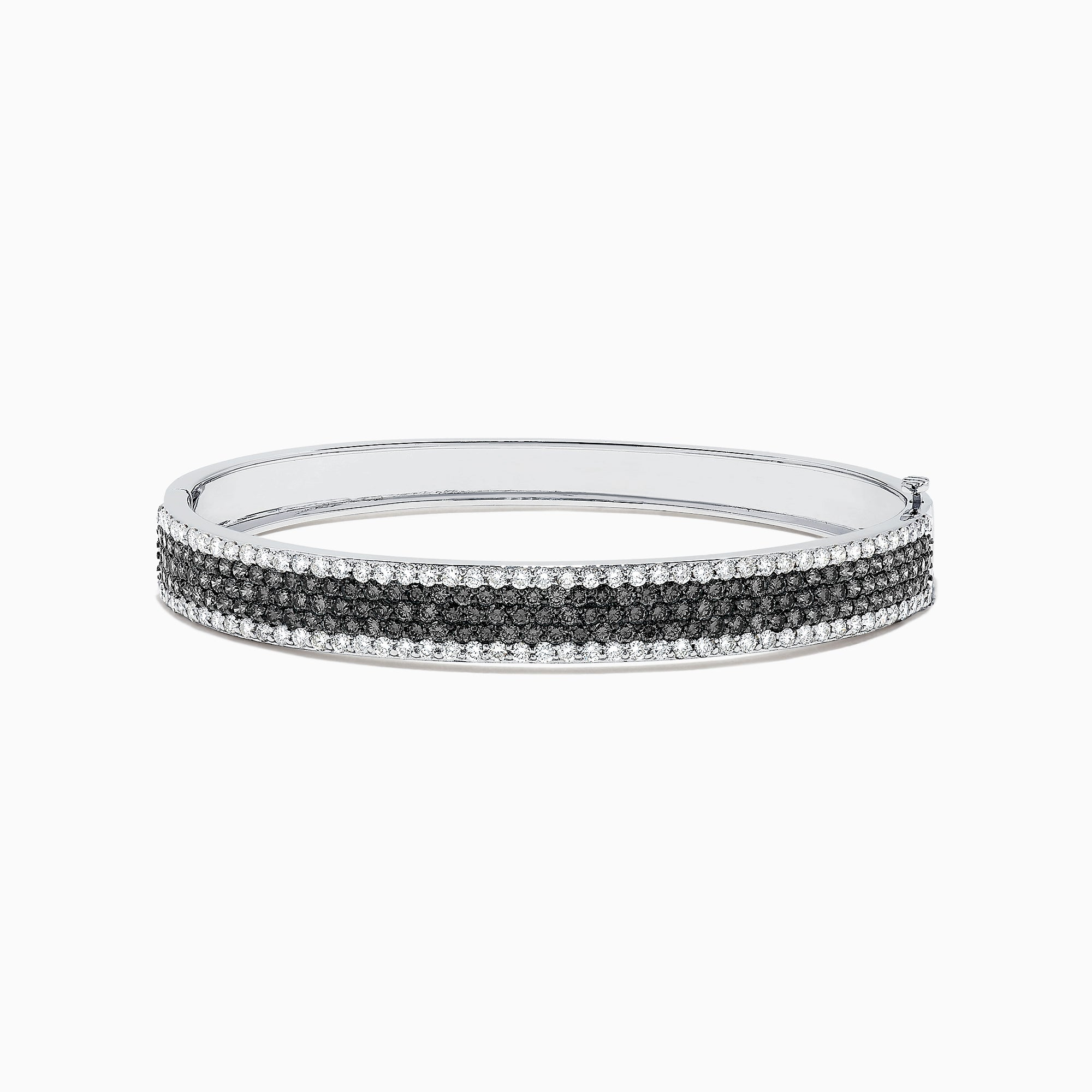 Effy 14K White Gold Black and White Diamond Bangle, 4.47 TCW