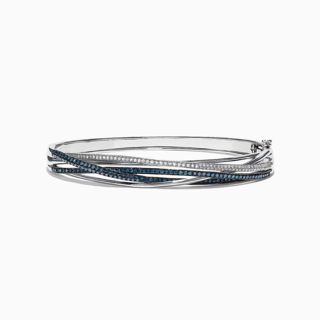 Effy Bella Bleu 14K White Gold Blue and White Diamond Bangle, 1.17 TCW
