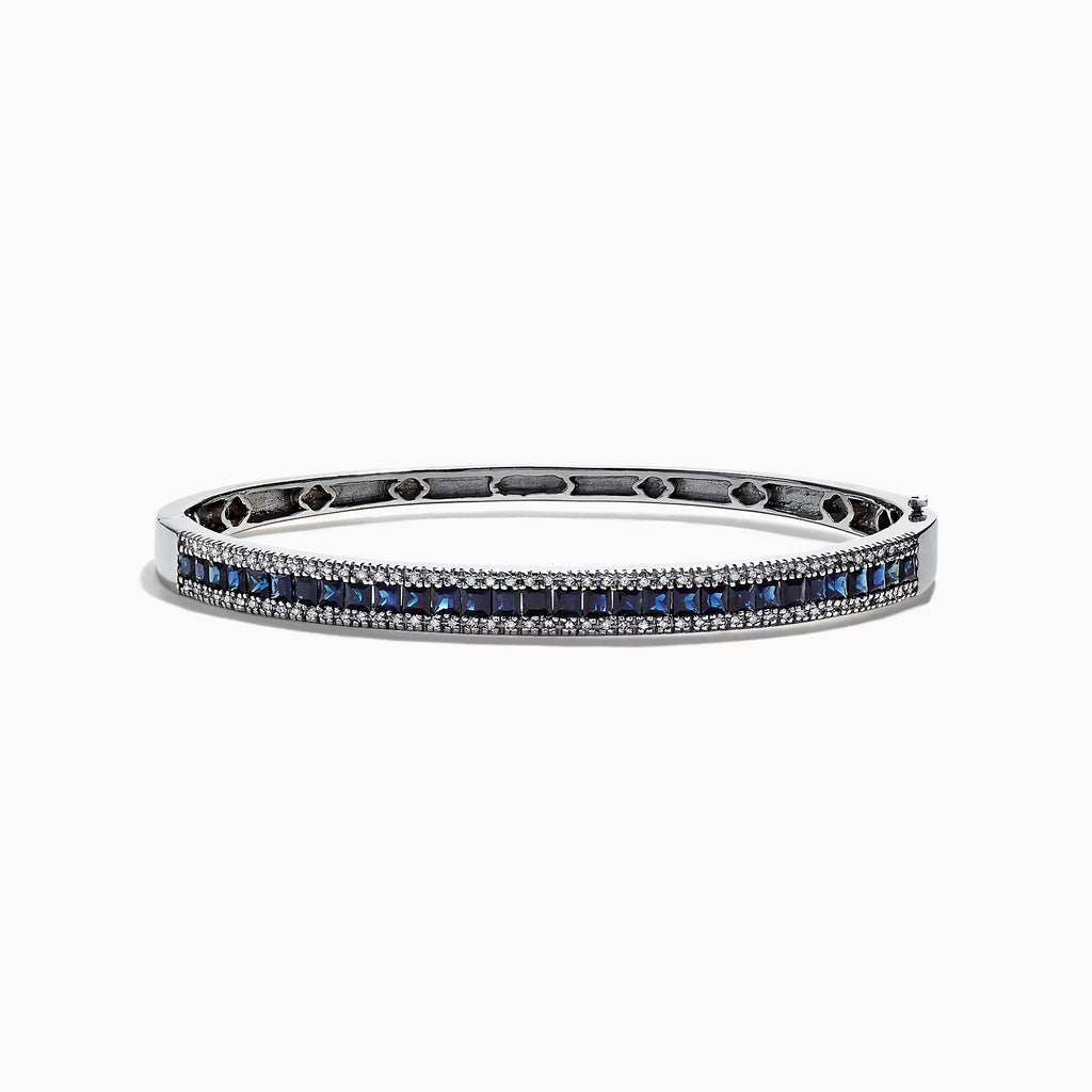 Effy Royale Bleu 14K White Gold Natural Blue Sapphire & Diamond Bangle, 3.60 TCW