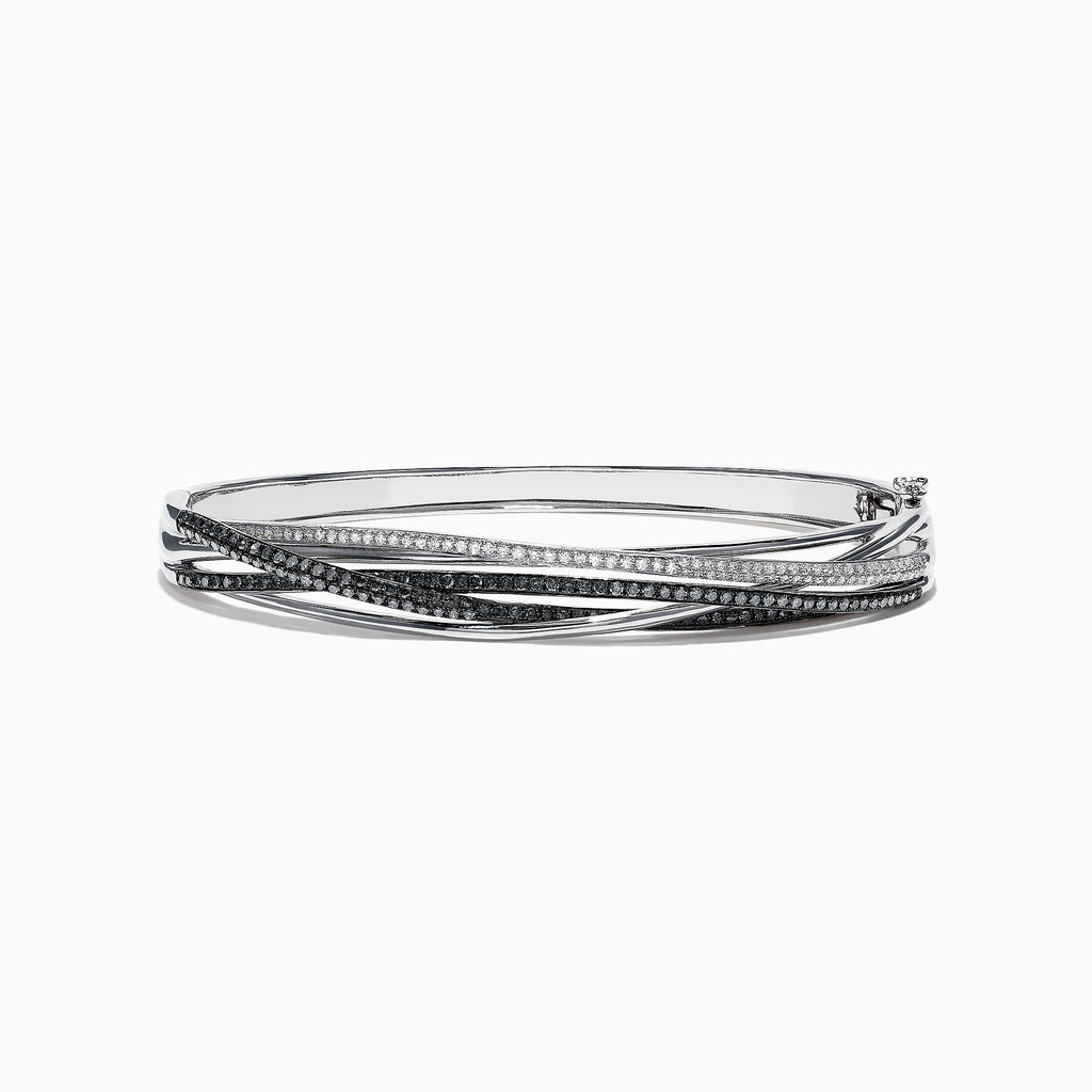 Effy 14K White Gold Black and White Diamond Bangle, 1.26 TCW