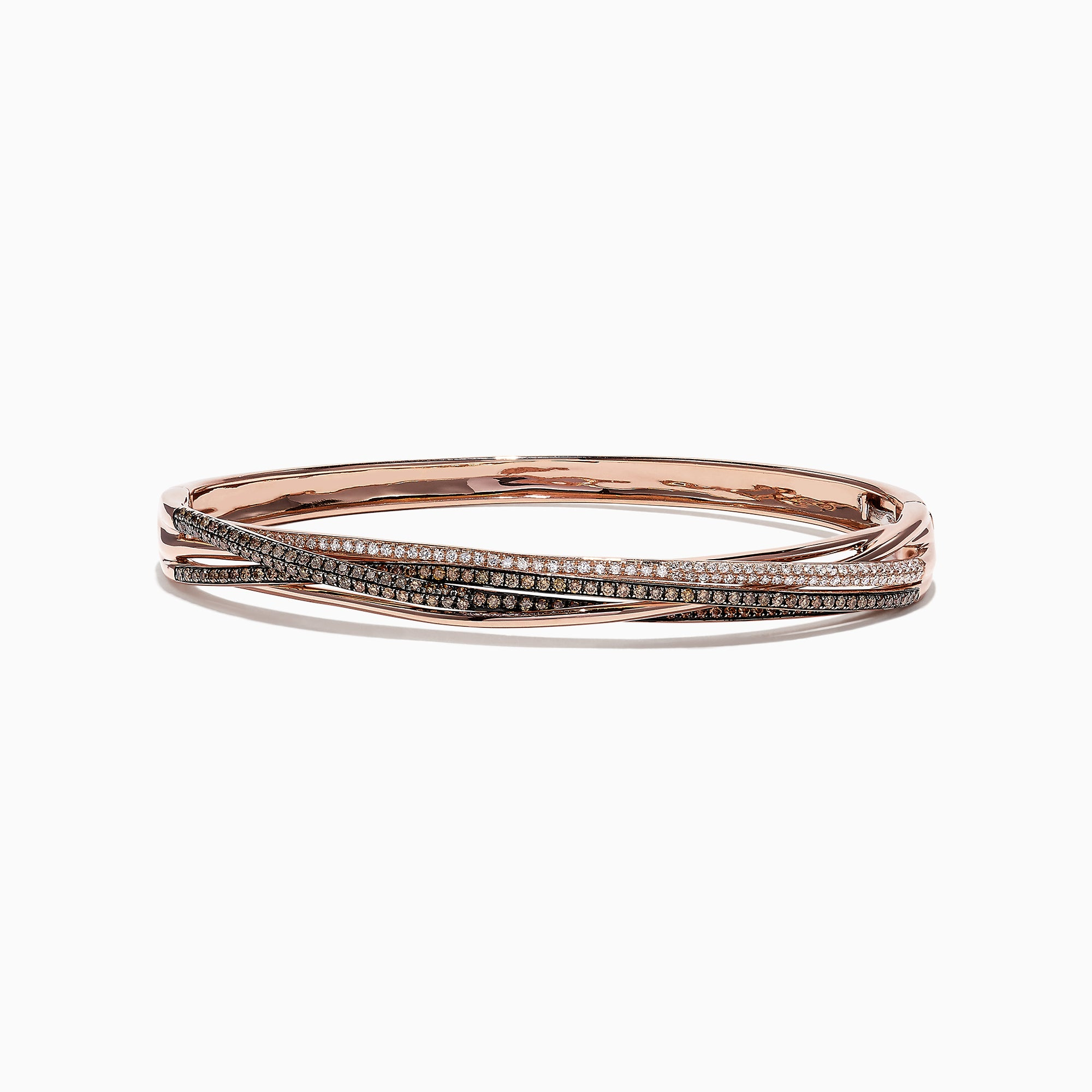 Effy Espresso 14K Rose Gold Cognac and White Diamond Bangle, 1.26 TCW