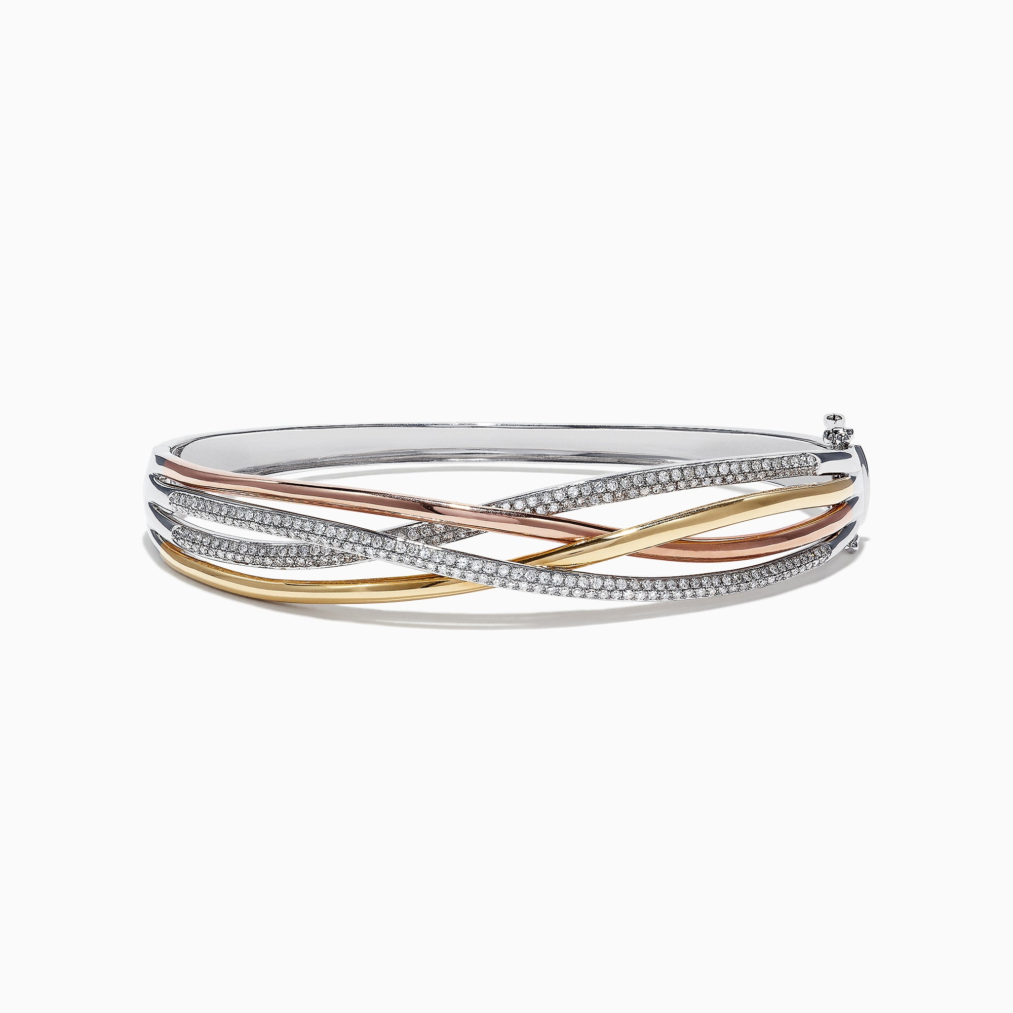 Effy Trio 14K Tri-Color Gold Diamond Bangle, 1.03 TCW