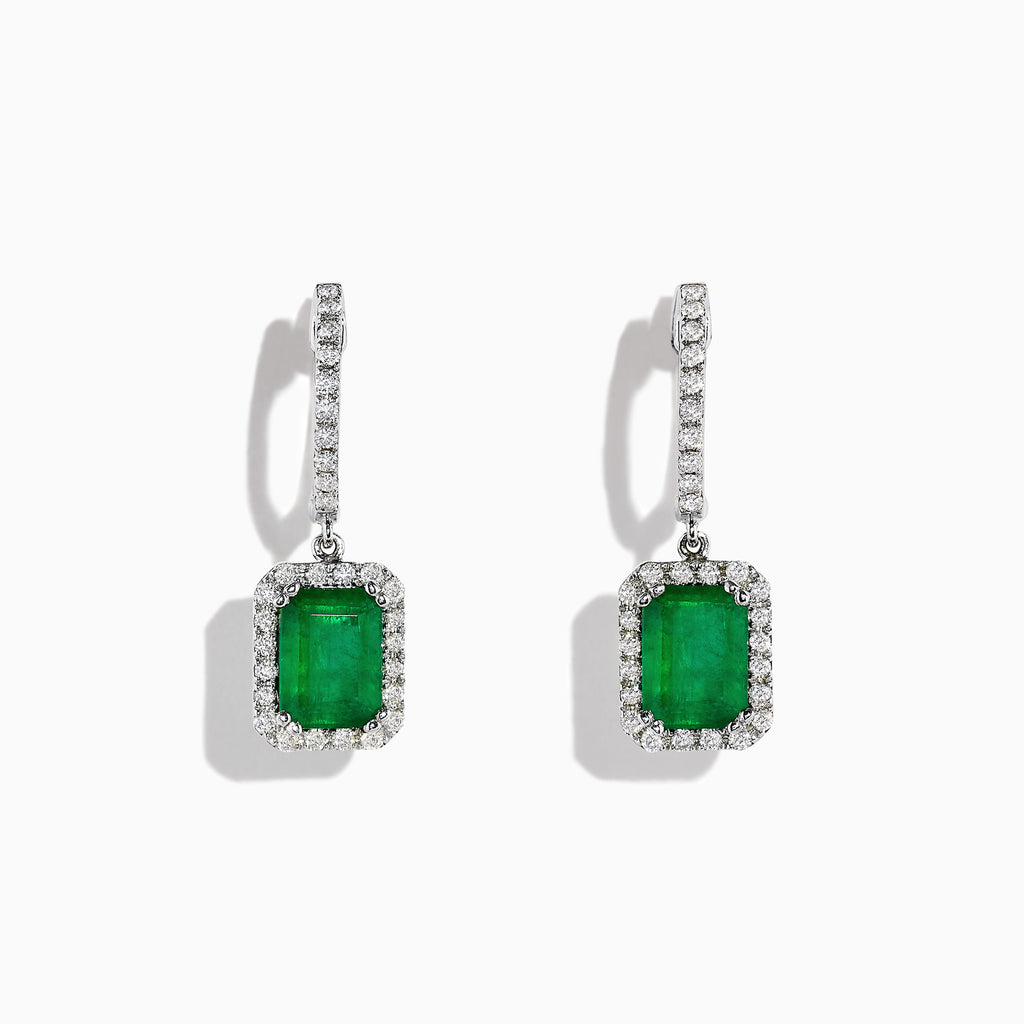 Effy Brasilica 14K White Gold Emerald and Diamond Earrings, 2.30 TCW