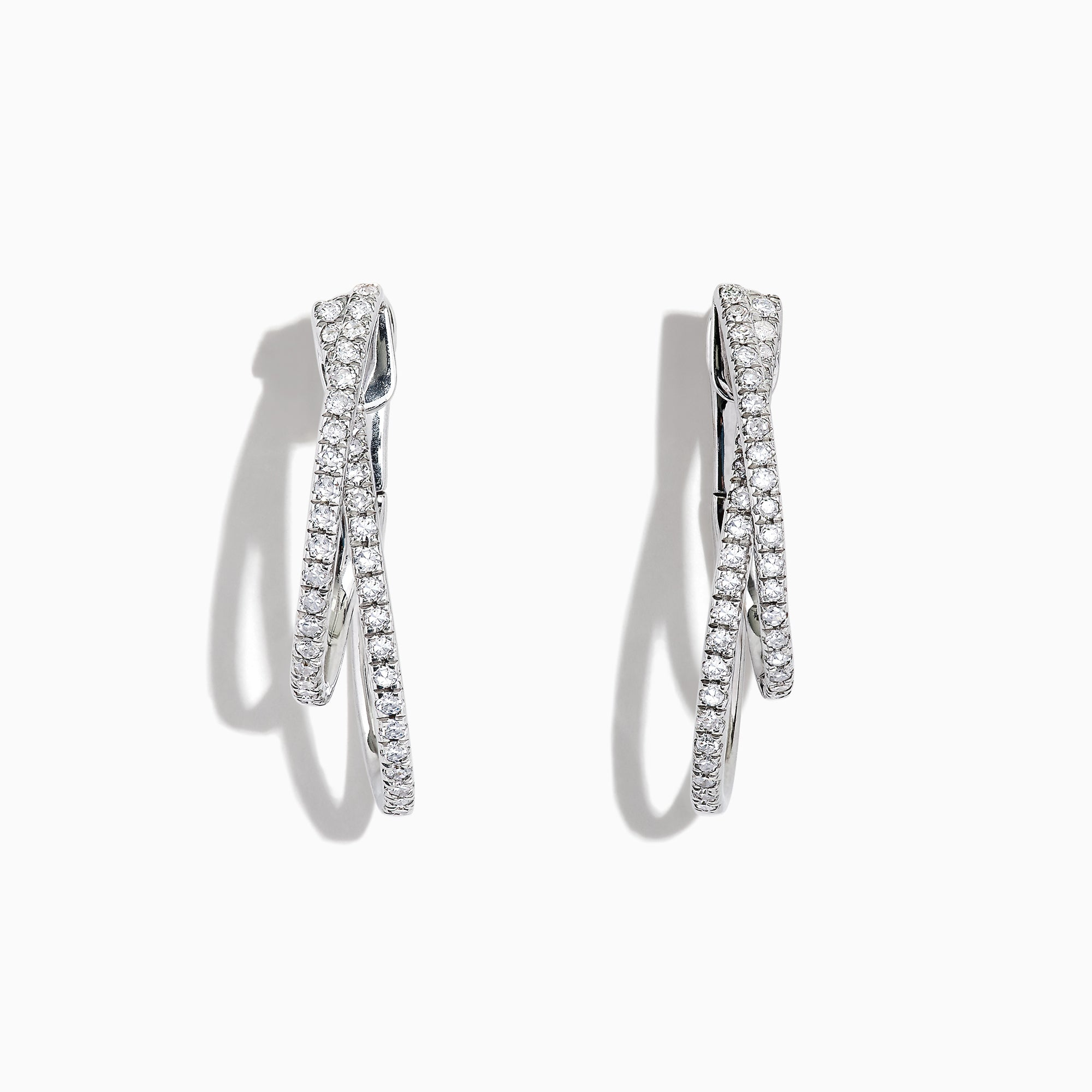 Effy Pave Classica 14K White Gold Diamond Earrings, 0.58 TCW