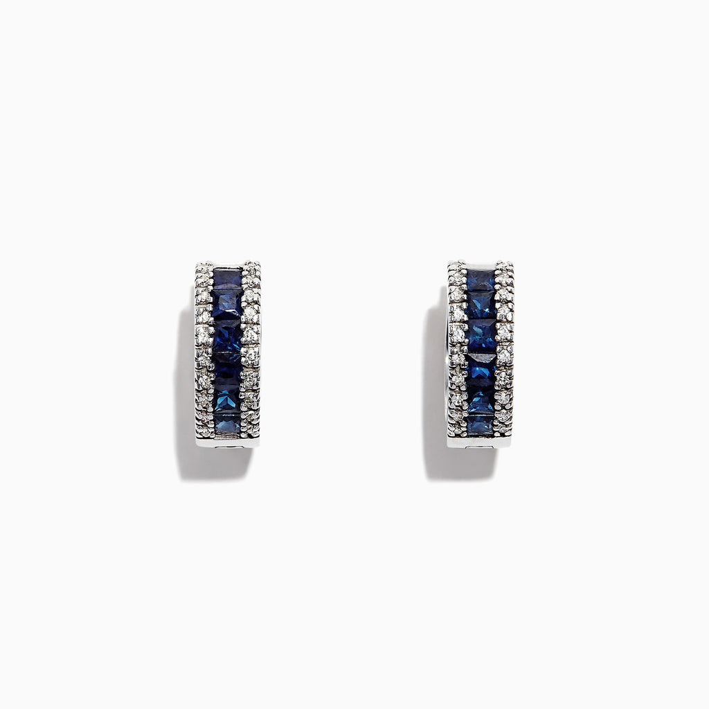 Effy Royale Bleu 14K Gold Sapphire and Diamond Hoop Earrings, 1.76 TCW