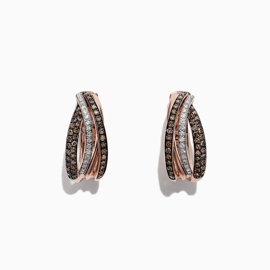 Effy Espresso 14K Rose Gold Cognac and White Diamond Earrings, .71 TCW