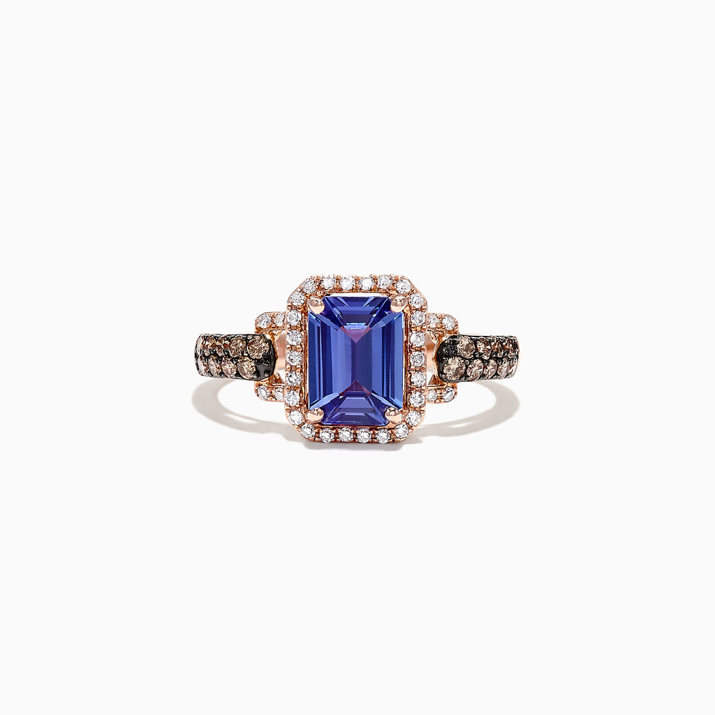 Effy 14K Rose Gold Emerald Cut Tanzanite and Diamond Ring, 1.72 TCW
