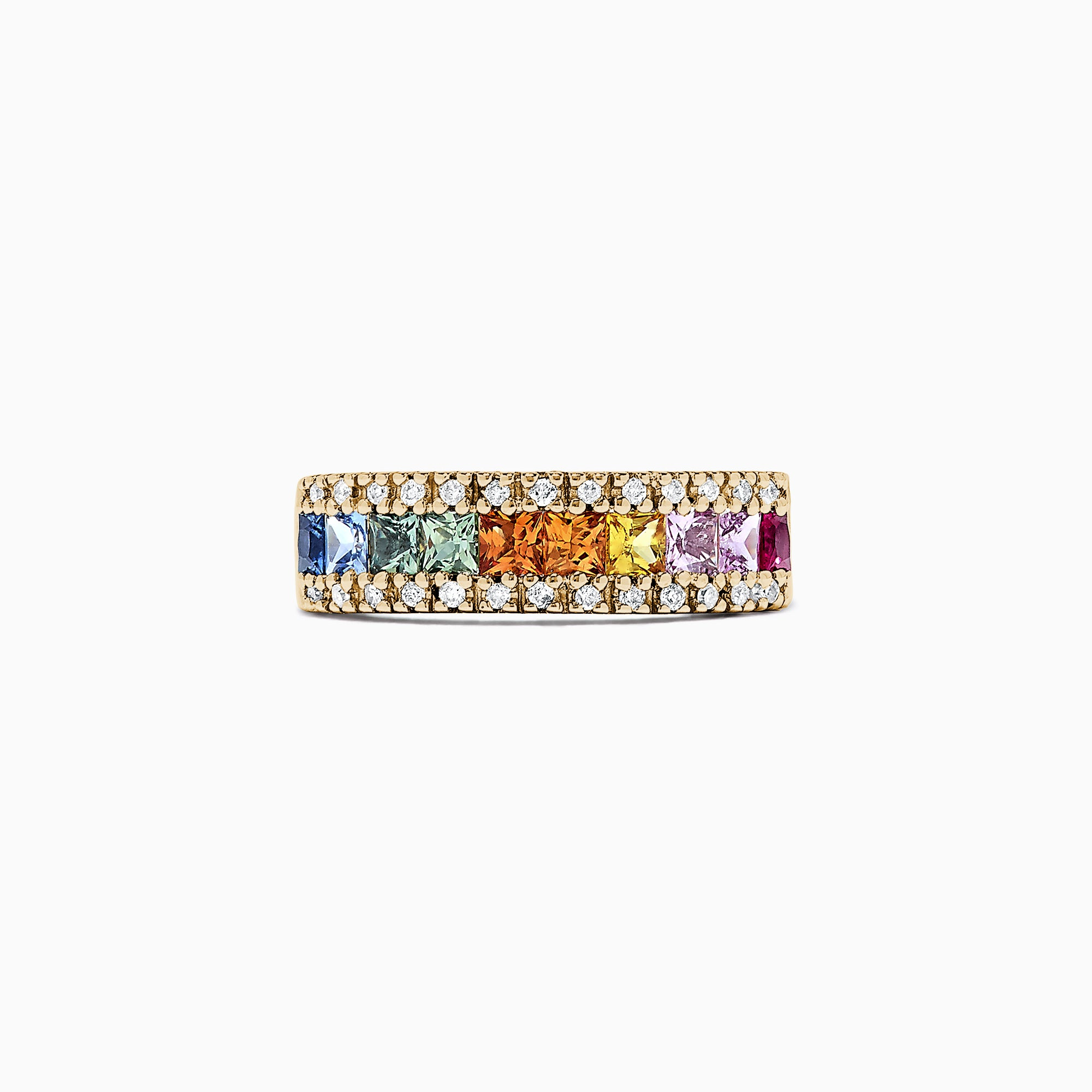 Effy Watercolors 14K Yellow Gold Multi Sapphire & Diamond Ring 1.46 TCW