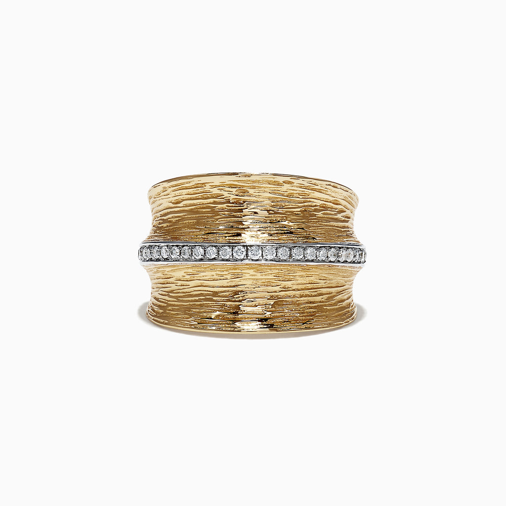 Effy D'Oro 14K Yellow Textured Gold Diamond Ring, 0.24 TCW