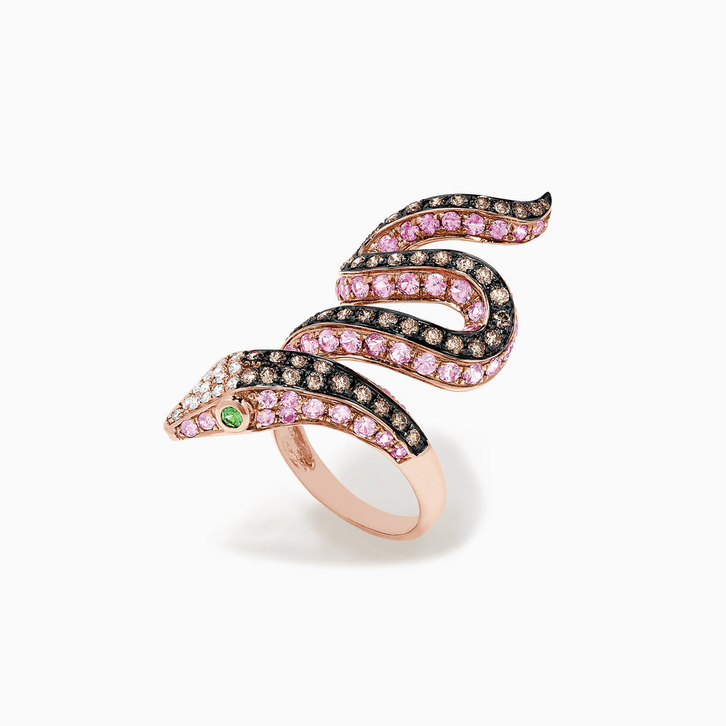 Effy Safari 14K Rose Gold Multi Gemstone and Diamond Snake Ring, 4.38 TCW